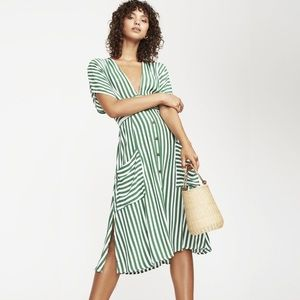 Faithfull Milan Midi Green Pockets Dress NWT